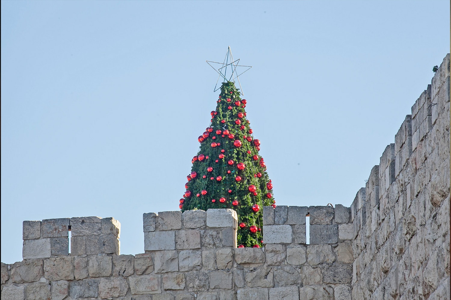 Christmas tree on a wall in Jerusalem